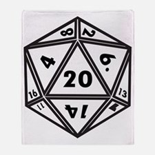 D20 White Throw Blanket