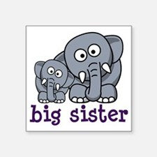 "big sister elephant Square Sticker 3"" x 3"""
