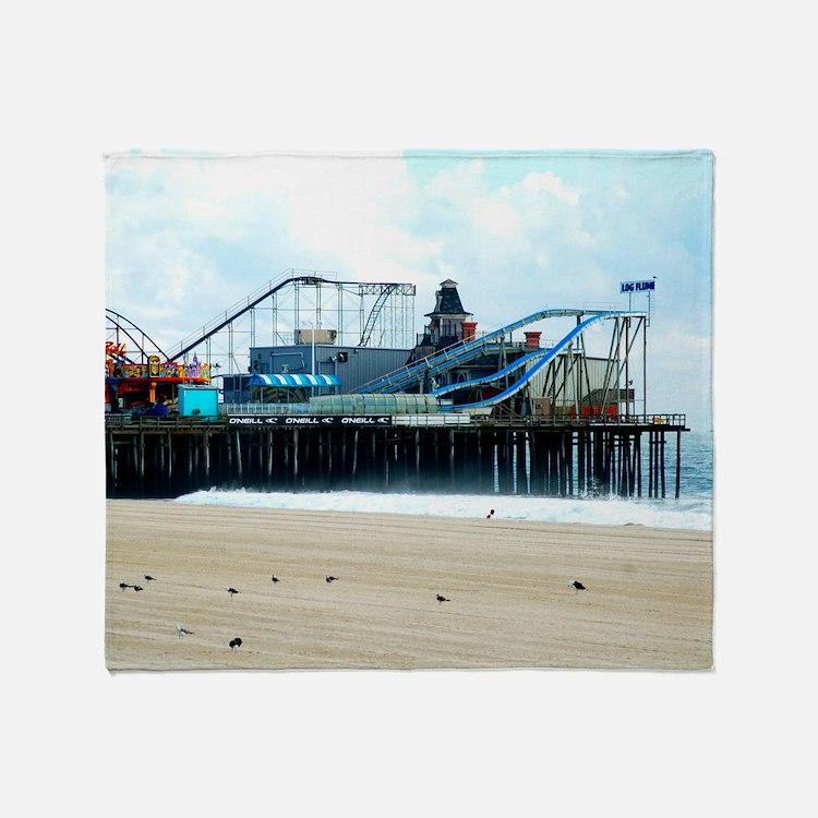 Jersey Shore Seaside Heights Boardwa Throw Blanket