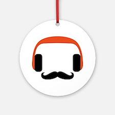 mustache_headphone Round Ornament