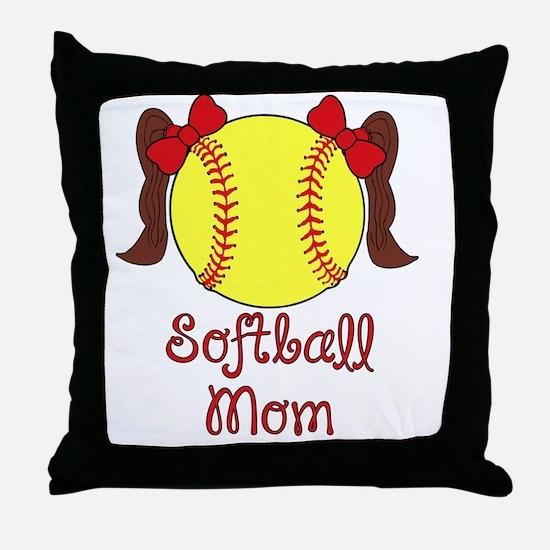 Softball mom brown hair Throw Pillow