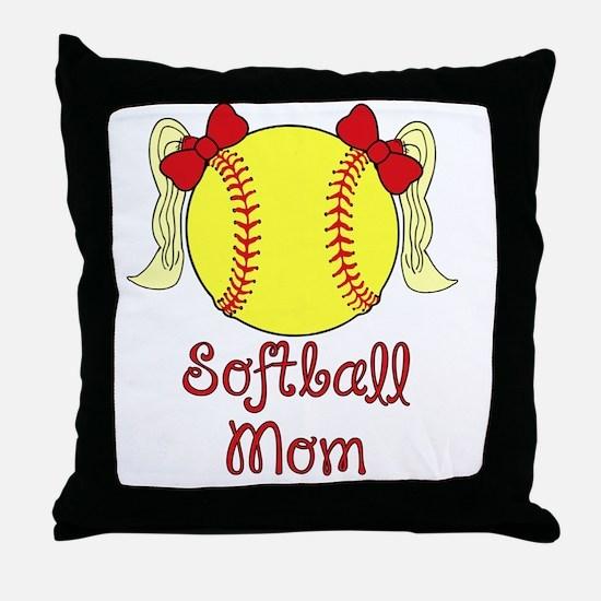 Softball mom blonde Throw Pillow