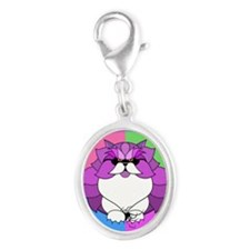 Persian Kitty Cat Graphics Silver Oval Charm