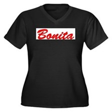 Bonita Women's Plus Size V-Neck Dark T-Shirt