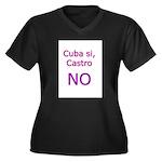 Cuba si, Castro NO. Women's Plus Size V-Neck Dark