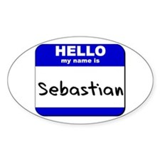 hello my name is sebastian Oval Decal