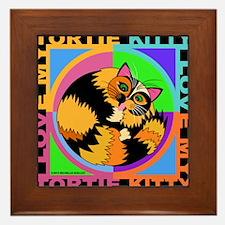 Tortie Kitty Cat Graphics Framed Tile