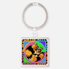 Tortie Kitty Cat Graphics Square Keychain