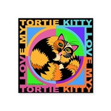 "Tortie Kitty Cat Graphics Square Sticker 3"" x 3"""