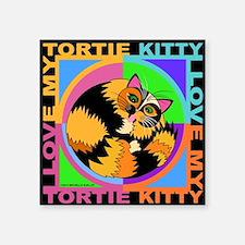 "Tortie Kitty Cat Graphics Square Sticker 3"" x 3"""
