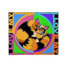Tortie Kitty Cat Graphics Throw Blanket