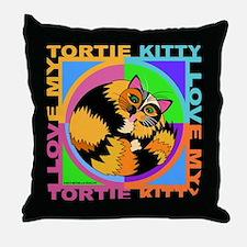 Tortie Kitty Cat Graphics Throw Pillow