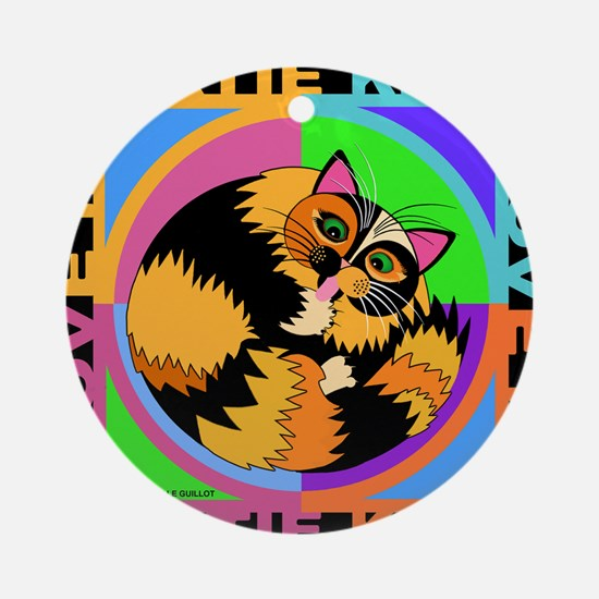 Tortie Kitty Cat Graphics Round Ornament