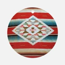 Vintage Red Mexican Serape Round Ornament