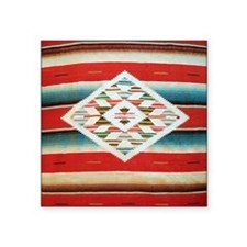 "Vintage Red Mexican Serape Square Sticker 3"" x 3"""