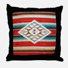 Vintage Red Mexican Serape Throw Pillow