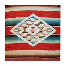 Vintage Red Mexican Serape Tile Coaster