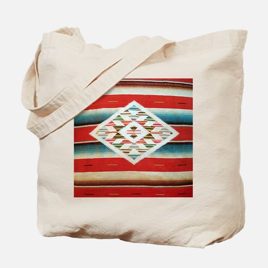 Vintage Red Mexican Serape Tote Bag