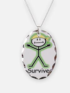 Cancer Survivor Radiation Necklace Oval Charm