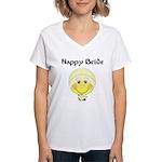 Smiley Face Bride Women's V-Neck T-Shirt