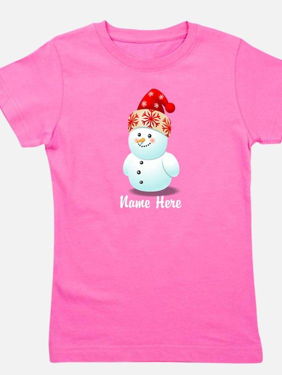 Cute Baby Snowman Cartoon Girl's Tee