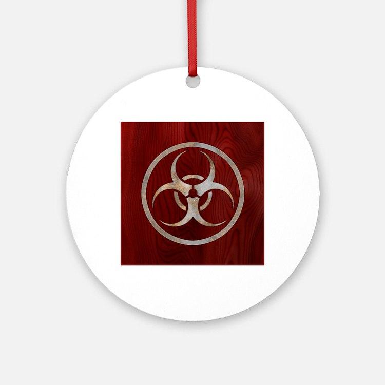 biohaz-steelwood-CRDh Round Ornament