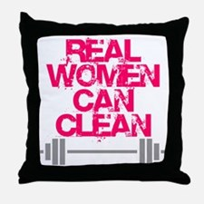 Real Women Can Clean (Pink) Throw Pillow