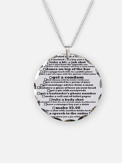 Bachelorette Party Checklist Necklace Circle Charm