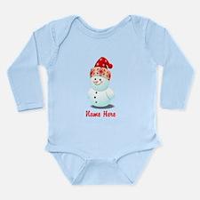 Cute Baby Snowman Cart Long Sleeve Infant Bodysuit