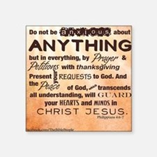 "Philippians 4:6-7 Square Sticker 3"" x 3"""