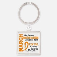 D MS Awareness Month Square Keychain