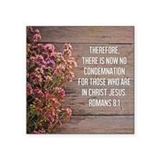"Romans 8:1 Square Sticker 3"" x 3"""