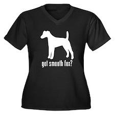 Smooth Fox Terrier Women's Plus Size V-Neck Dark T