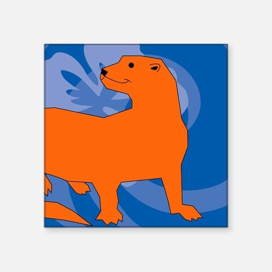 "Ferret Round Car Magnet Square Sticker 3"" x 3"""