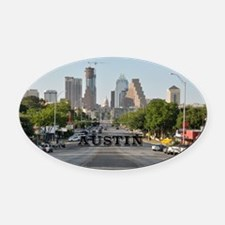 Austin_Rect_Color_DowntownWithCapi Oval Car Magnet