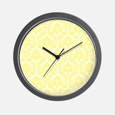 Light Yellow Damask Wall Clock