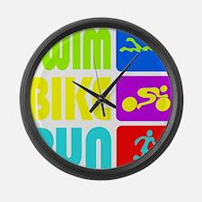 TRI Swim Bike Run Figures Large Wall Clock