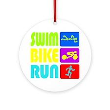 TRI Swim Bike Run Figures Round Ornament