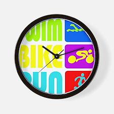 TRI Swim Bike Run Figures Wall Clock