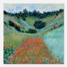"Claude Monet - Poppy Fie Square Car Magnet 3"" x 3"""