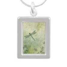 StephanieAM Dragonfly Silver Portrait Necklace