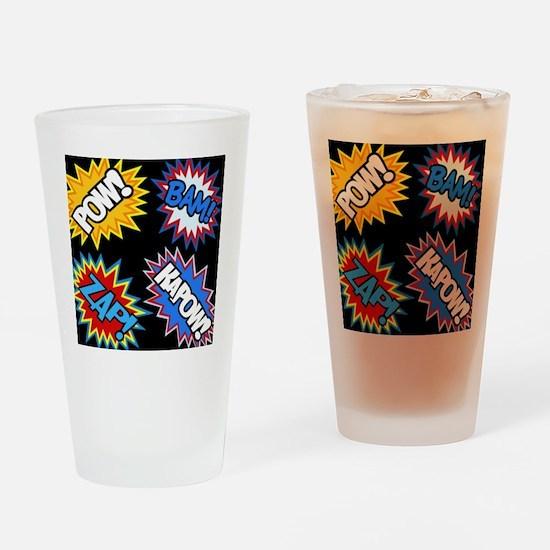 Hero Comic Pow Bam Zap Bursts Drinking Glass