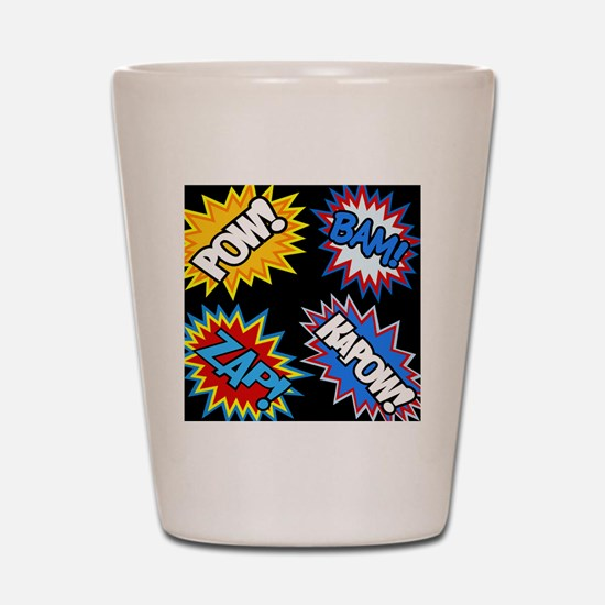 Hero Comic Pow Bam Zap Bursts Shot Glass