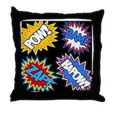 Hero Comic Pow Bam Zap Bursts Throw Pillow