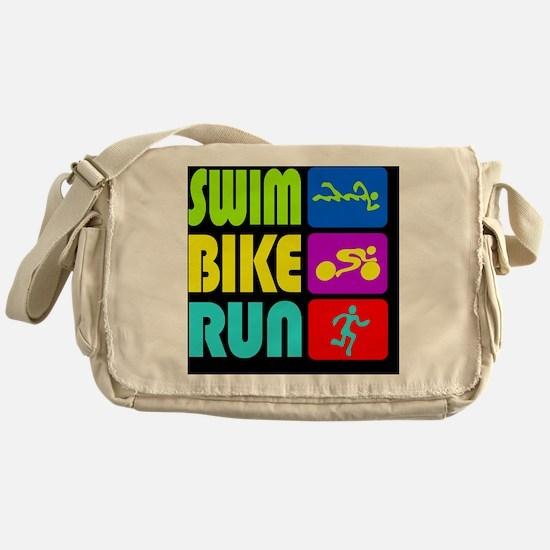 TRI Swim Bike Run Figures Messenger Bag