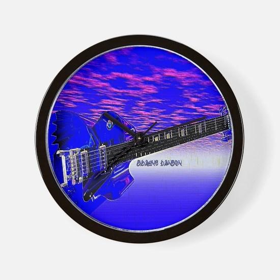 Big Blue Guitar Wall Clock