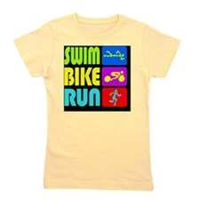 TRI Swim Bike Run Figures Girl's Tee