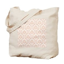 Linen Bege Damask Tote Bag