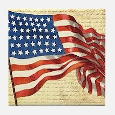 Vintage American Flag Patriotic Tile Coaster