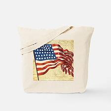 Vintage American Flag Patriotic Tote Bag